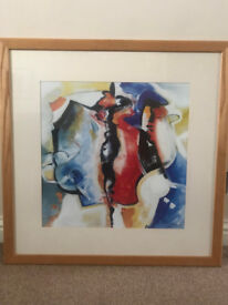 Abstract Print in Oak frame 75 x 75 cm