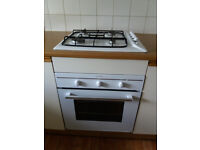 White Indesit Integrated Gas Hob and Electric Oven