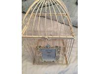 wedding birdcage post box used once with frame and decorations