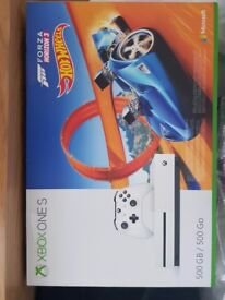 X Box One S 500gb with Hot Wheels Game Bundle.