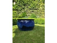 BLUE GARDEN POT - with two drain holes