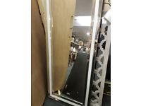 White glass floor standing mirror