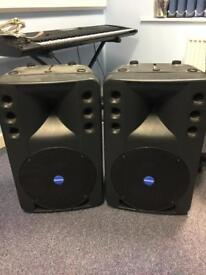 Mackie 300 Watt PA Speakers and cables.