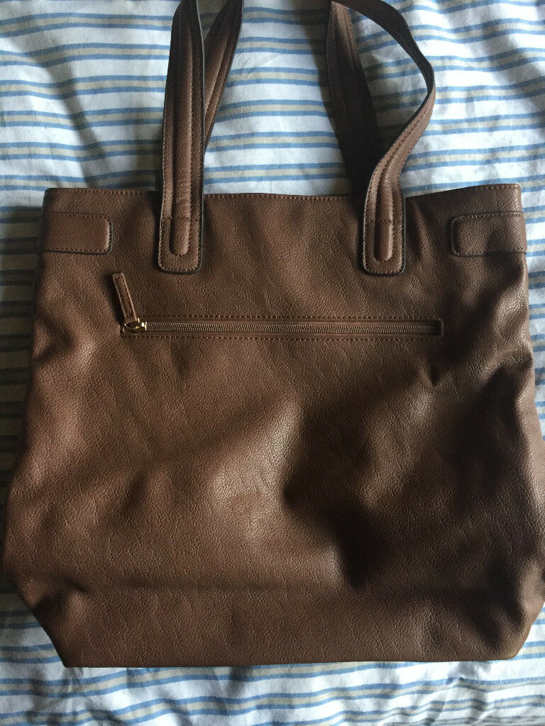 Chocolate leather faux tote bag from M&S excellent condition NEVER USED