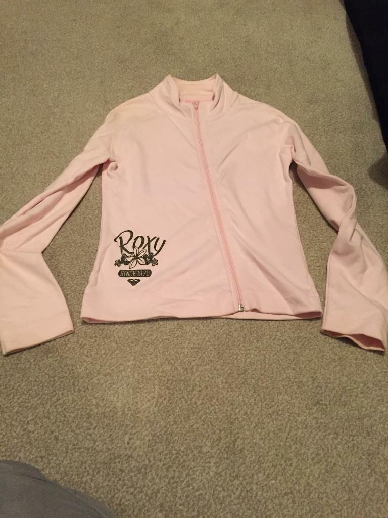 Pink roxy zip up top size small