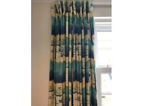 Pair of Curtains - St Ives blue and yellow design heavy glazed cotton fabric