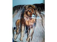 Huge warm lion throw soft material