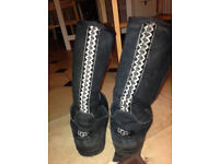 lovely Black Ugg ultra tall boots size 5 exc condition bargain price
