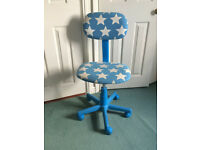 blue and white kids desk chair