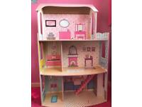 Large wooden dolls house & accessories