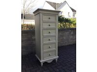 Shabby Chic Cream painted tall chest of drawers