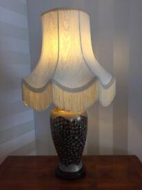 Stunning large Asian style ceramic table lamp on wooden base beautiful cream fringed silk shade