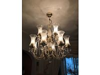 12 light chandelier - gold effect - great condition
