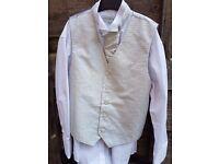Boys 3 piece wedding outfit Age 9/10 - Waistcoat, cravat, shirt, black & grey trousers + Black shoes