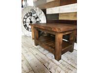Bespoke hand made chunky pine coffee table