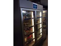 2 Door glass fronted upright retail freezer unit
