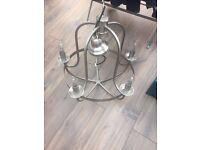 John Lewis Brushed Chrome 5 arm ceiling light / chandelier