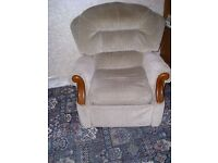 Two reclining chairs, beige dralon with wood trim