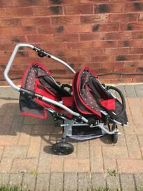 Dolls double pushchair