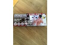 IRON GYM PULL UP DOOR BAR. NEW IN BOX!!
