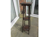 Old Carved Wooden Plant Stand