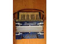 Vintage Antique 1950's Bonelli Piano ACCORDION in Hard Case