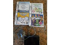 Nintendo DS plus charger & 4 Games - Sims 2, My Health Coach, My Word Coach & Brain Training.