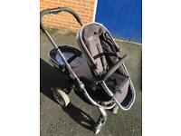 Icandy peach blossom double pram/pushchair, complete with seats, carrycot, double adaptor & more