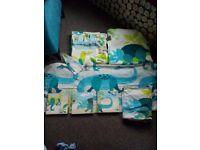 Dinosaur tab top curtains and single bedding set