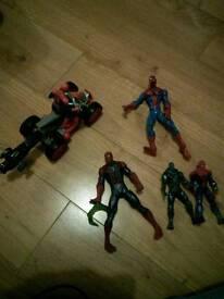 Spiderman figures.