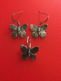 Limited Edition, Silver Butterfly Earrings & Necklace set. Made in Edinburgh £9.95 postage from 90p
