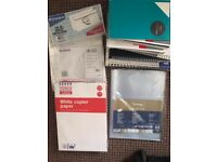 Lots of new & used notebooks, printing paper, envelopes and folders, all good condition