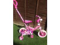 "Child's 10"" bike with removable parent handle (2yrs-4yrs)"