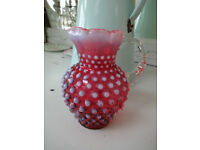 Pretty Antique Vintage Small & Heavy Cranberry Glass Hobnail Jug