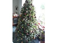 8ft Christmas Tree with snow topped branches and all decorations. Everything boxed.