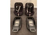 Maxi Cosi Pearl seat (x 2) and Maxi Cosi Family Fix (x 2) - £25 each or all 4 for £90