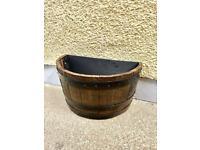 Solid oak whiskey barrel planter