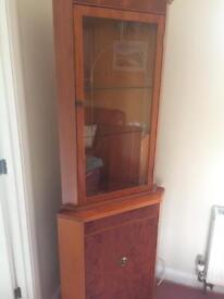 Corner display cabinet with lighting -Weu wood