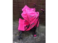 Pink double Zeta pushchair