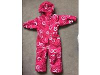 Girls pink snow suit - age 2 years