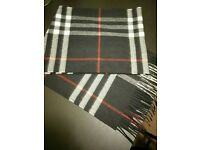 Burberry 100% Cashmere Navy Scarf