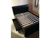 Black Leather Effect Double Bed Frame