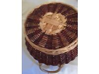 Wicker two tone ratton weaved basket .