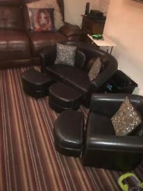 Harvey's kids leather settee chair and pouffes
