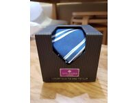 Jeff Banks Luxury Silk Tie and Tie Clip