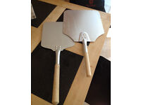 2 Aluminium Pizza Peel Blades with Wooden Handles, as new