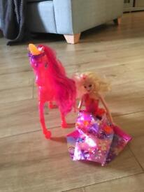 Barbie and unicorn horse
