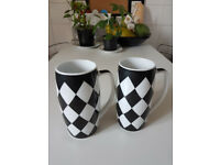 Tall Checkered Mugs x2