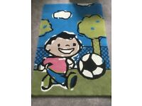 Football rug suitable for bedroom or childs playroom 100% wool