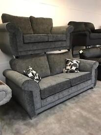 3 + 2 Shannon Fullback Sofa Grey New